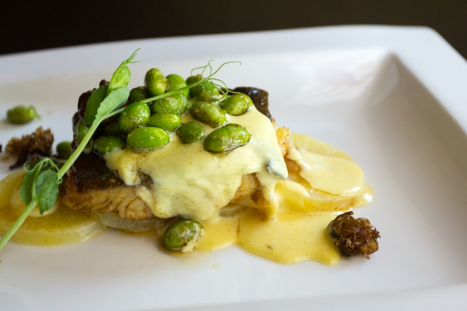 Atlantic cod, caper butter, saffron potatoes and edamame at Zoëtry Paraiso de la Bonita.