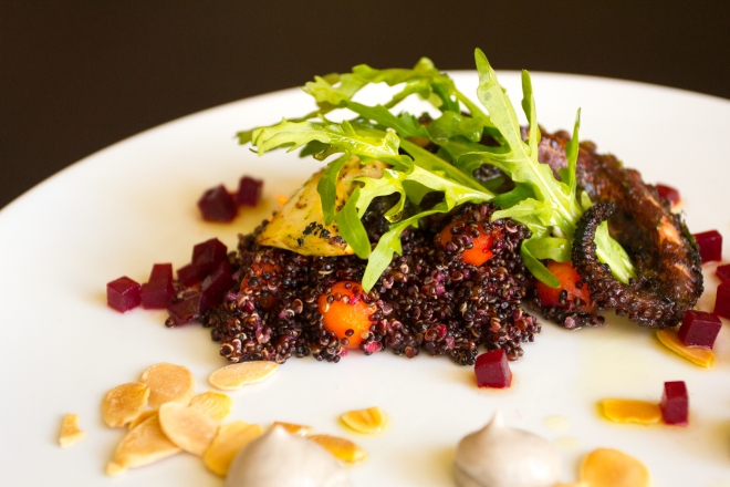 Grilled Octopus, Red Quinoa, Almond and Olive Emulsion at