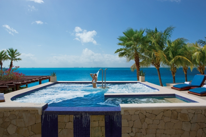 Our outdoor seawater jacuzzi solidifies the rejuvenating experience of a getaway at Zoëtry Villa Rolandi Isla Mujeres.