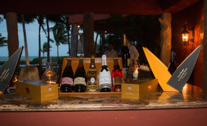 Choose from a dazzling array of fine wines and champagnes.
