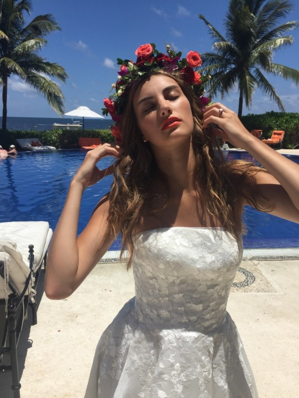 This boho chic look was complimented with a natural floral headpiece and sparkling lace gown