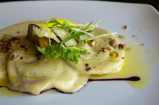 Paraiso- Radicchio and Ricotta ravioli, Pear and Pecan Sauce